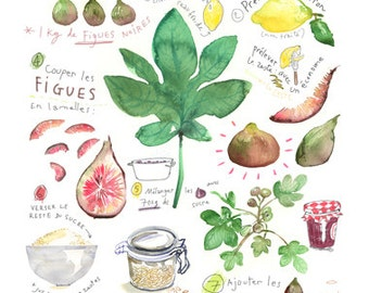 Fig jam recipe, Kitchen art, 8X10 print, Food poster, Fall Fruit Watercolor painting, Green, Bourgogne Home decor