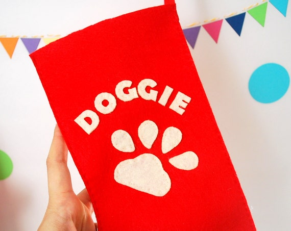 ON SALE DOGGIE Stocking, Red felt stocking with beige letters on it, Ready to ship A890
