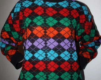 1980's colorful argyle patterned wool and acrylic medium weight nerdy geek unisex long sleeved sweater jumper - men's sz M/L