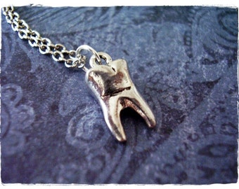 Silver Tooth Necklace - Antique Pewter Tooth Charm on a Delicate Silver Plated Cable Chain or Charm Only