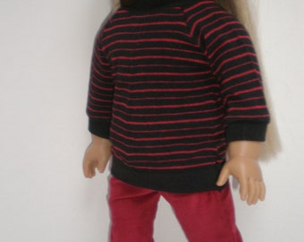 WINE BURGUNDY CORDUROY Skinny Jeans 18 inch doll clothes