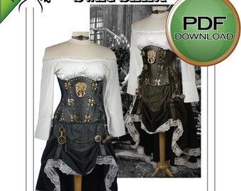 Steampunk Hitched  Skirt. PDF Sewing Patetrn.  Prints on USA Letter /A4 Instantly.