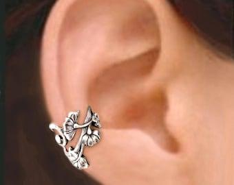 Art Nouveau ear cuffs Sterling Silver earrings Jewelry Art Nouveau earrings Sterling silver ear cuff flower ear cuff ear clip C-139