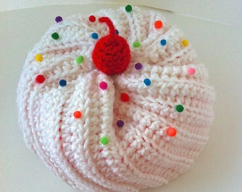 Cupcake Hat with White Frosting and Bright Pink Cake