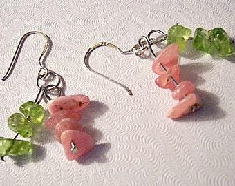 Sterling Silver Pink Green Pierced Wire Earrings Double Strand Dangles Rock Beads