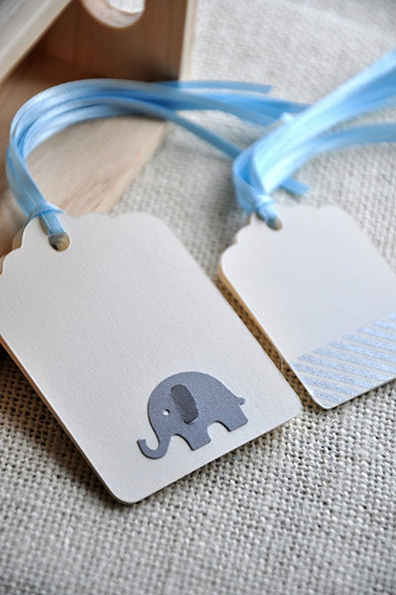 Baby Boy Gift Tags : Elephant baby boy shower gift tags ct by courtneyorillion