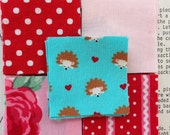 RESERVED LISTING for PAM  100 - 2 inch Squares of Red, Pink, White and Hedgehog Fabric