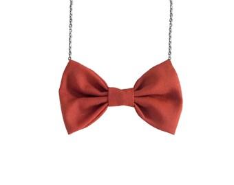 Dust Orange - Bow Tie Necklace, BowTie for Women, Orange Bowtie Necklace