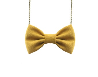 Linen Yellow - Bow Tie Necklace, Casual Funky Yellow Bowtie
