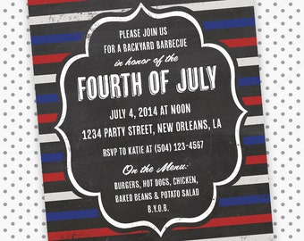 Printable Digital File - Red, White & Blue Chalkboard Invitation - Customizable - 4th of July, Memorial Day, Fourth, Patriotic, America, BBQ