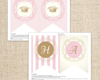 Princess Happy Birthday Pink and Gold Flag Banner by FLIPAWOO - Classic Stripes - Instant Download Printable PDF File