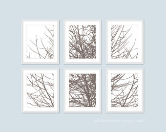 Modern Tree Branches Wall Art - Tree Branches Prints - Set of Six - Taupe Brown - Contemporary Home Decor - Gallery Wall Art - Aldari Art