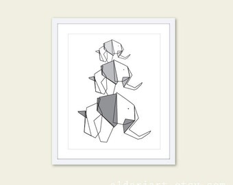 Elephant Art Print. Elephant Origami. Mother Father and Baby Elephant Print. Grey and Black Geometric Elephant.
