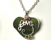 """LP 1068  Silver Plated Green Agate Druzy And Sterling Silver """" Love """" Charm Holder, Pink Topaz and Green Quartz Pendant Necklace"""