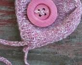 Newborn Alpaca Knit Bonnet  Photography Prop etsy Girl newborn hat with large button