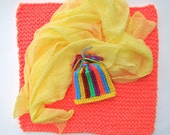 Newborn 3 Piece Neon Photo Prop Set  Knit Blanket Knit Hat and Cheesecloth knobby chunky blanket