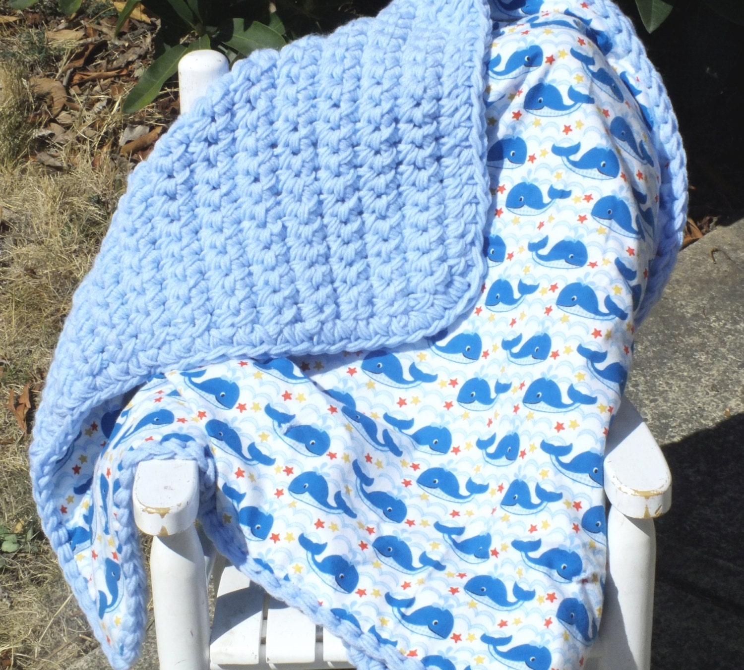 Double Sided Crochet Baby Blanket Pattern : Baby whale receiving blanketdouble sided crochet by ...