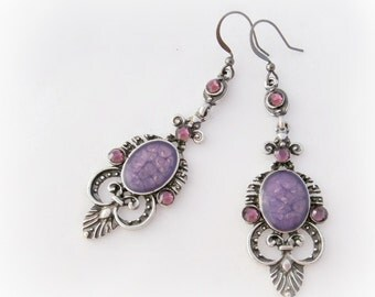Purple victorian gothic earrings, gothic jewelry, handmade gift for her