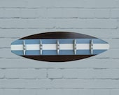 Surfboard Coatrack with Boat Cleats in Marina Blue, Dark Stain and White