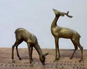 Vintage Brass Deer Figurines Buck and Doe Pair Set