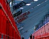 Brooklyn Williamsburg Bridge Bike Path Large Photography Print, NYC Large Wall Art, New York CIty Urban Graffitti