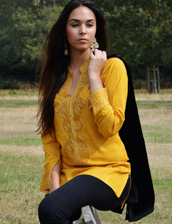 Tunic Clothing Dark Yellow  Moroccan Bedouin shirt, tunic, resort wear, lounge wear, beach wear, handmade tunic, ramadan, eid