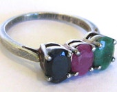 Vintage Ring Sterling Silver Emerald Ruby & Sapphire Jeweled Three Stone Ring size 7