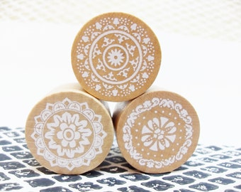 3x Vintage Lace Pattern Rubber Stamps