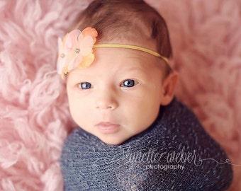 Orange Newborn Headband, Newborn Photo Prop, Baby Flower Headband, Infant Headband, Orange Flower Headband, Hydrangea Headband, Orange Baby