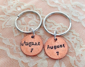 Our lucky day, wedding or anniversary pennies, hand stamped keychains