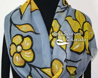 Hand Painted Silk Scarf in Silver Gray and Golden Yellow SILVER SPRING. Size 11x60. Silk Scarves Colorado. 100% silk. Hand Dyed Scarf.