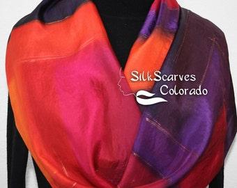 Hand Painted Silk Scarf Summer Sunshine. Silk Scarf in Red, Orange, Purple. Size 11x60. Silk Scarves Colorado. 100% silk. Made to order.