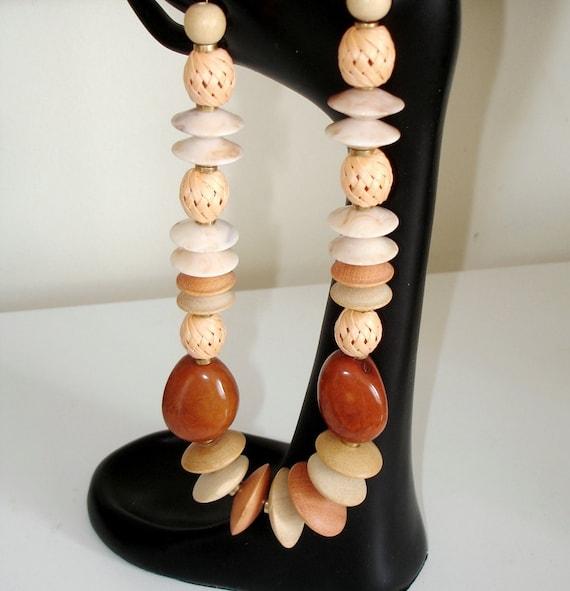 Ashira Stunning Vintage Wood & Resin Beads, Brass and Chocolate Sienna Tagua Ivory Nuts - Bohemian