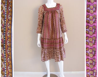 Vintage India cotton gauze dress 1970s.