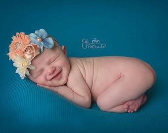 Vintage peach shabby chiffon headband- cream green flowers- lace headband-flower headband- newborn headband-infant headband-girl headband