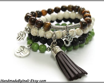 Elastic Yoga beaded stackable bracelet Free people style Spiritual Hindu Ethnic Bohemian Tassel Brown Black Green White earthy colors