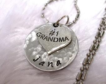 Grandma Necklace, Personalized Jewelry, Hand Stamped Jewelry, Grandma Jewelry, Jewelry for Grandma, #1 Grandma Jewelry, 1 disc
