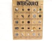 Vintage Salesman Button Sample Card, Vintage Button Factory Sample Card, Vintage Card of Buttons