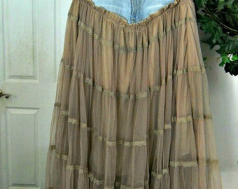 Seven for All Mankind bohemian ballroom  jean skirt  taupe tulle vintage lace Renaissance Denim Couture belle bohémienne Made to Order
