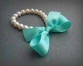 Pearl Bracelet Shabby Chic Weddings White Pearls With Aqua Blue Satin Ribbon Bracelet