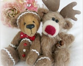 Christmas Patterns Reindeer and Gingerbread Man Bear  - 2 Pattern Pack Instant Download