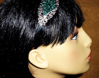 Silver filigree headband with aqua Van Gogh stained glass brockus creations 5970