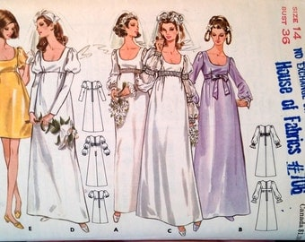 Bridal Dress Butterick Pattern 5564 size 14 bust 36 Jr. or Misses' with sleeve variations (P154)