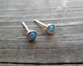 Opal Stud Earrings, Minimalist Earrings, Classic 3mm 14k Gold Filled Studs, Blue Opal, Gold Opal Posts, October Birthstone, Bridal Jewelry