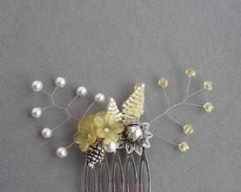 Yellow Hair Comb - Lemon Floral Head Piece - Buttercream Bridesmaids Accessories - Flower Head Piece - Wedding Fascinator - Bridesmaid Gifts