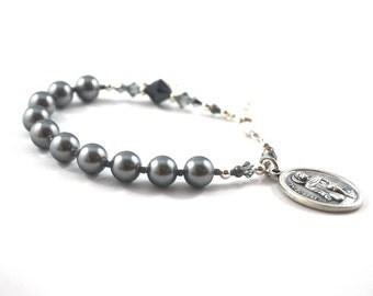 St Peregrine Rosary Bracelet Dark Silver Crystal Pearl Bracelet Saint Peregrine Confirmation gift Rosary Bracelet Catholic Religious Jewelry