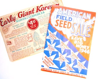 Vintage American Field Seed Catalog, Envelope,  and Sample Seed Packets, 1940s