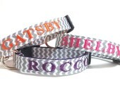 Personalized - Gray Chevron Dog Collar with name and phone