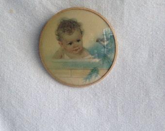 Vintage baby print nursery decor baby and bird hand made round convex glass