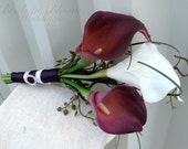Bridal bouquet - Bridesmaid bouquet - Plum and white Real touch calla lily bouquet
